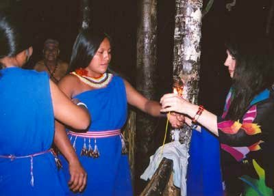 Vijali helping dress the Shuar women