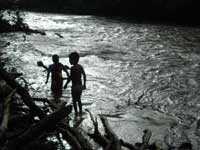 Shuar youth children bathing in Yukias river, Yanua