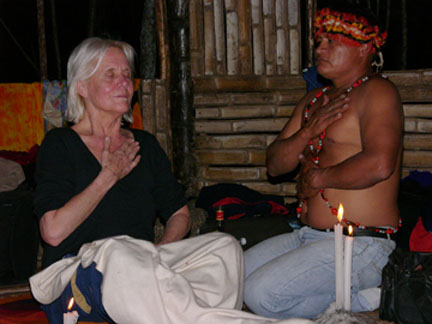 Edie in a healing ceremony with shaman Pedro at the Refuge