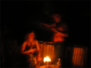 Vijali in a healing ceremony with shaman Pedro in the Amazon